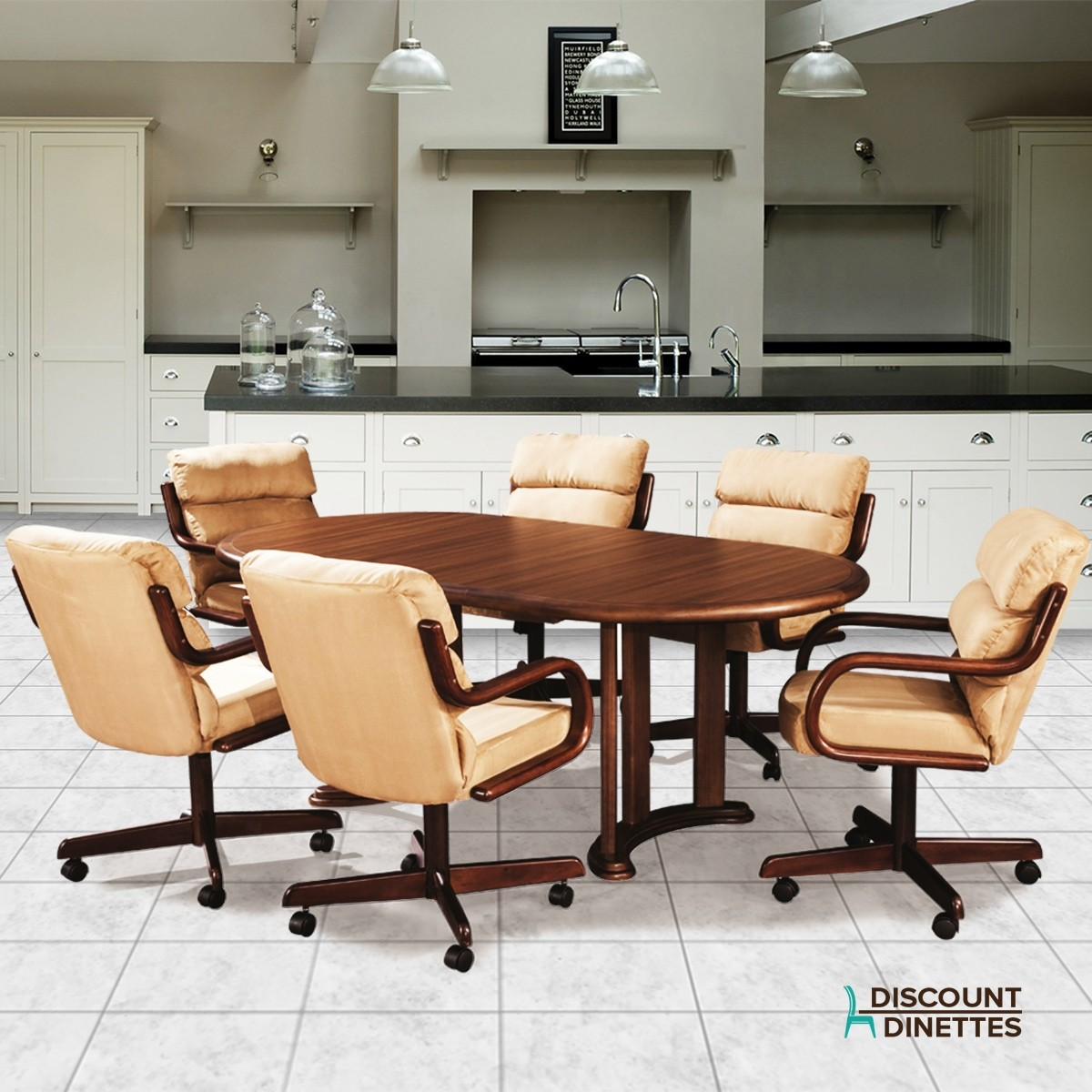 Kitchen Table With Chairs On Wheels: Douglas Casual Living Ashley Swivel Dining Set