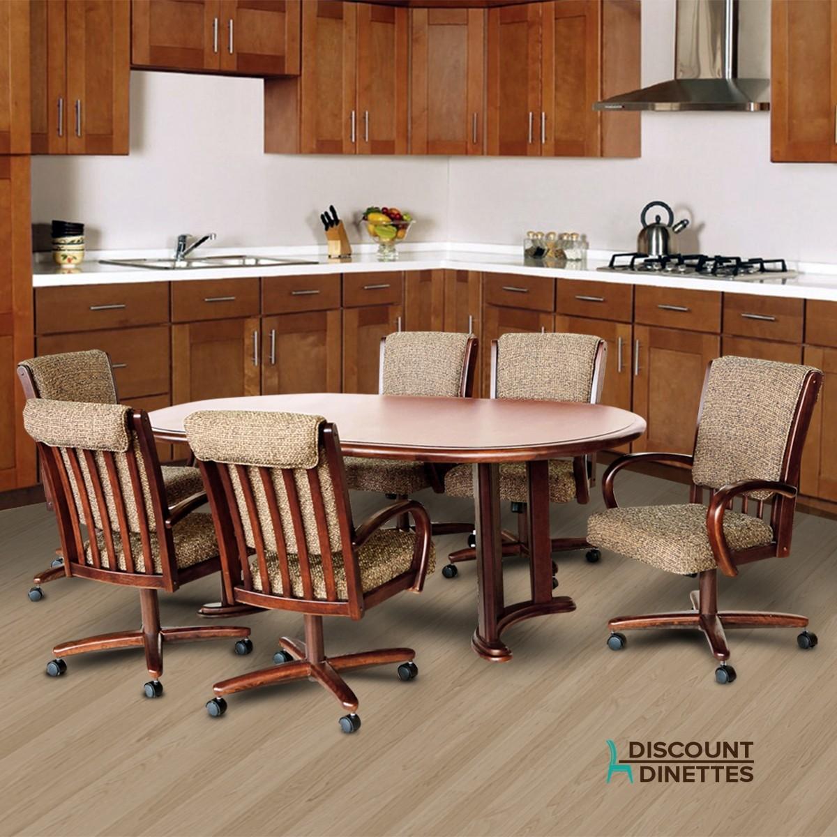 Chromcraft Furniture T817-77 And C177-936 Swivel Wood Dining