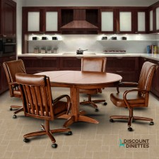 Chromcraft C177-946 and T250-607 Solid Wood Swivel Tilt Wheels Dining Set