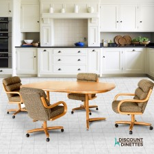 Chromcraft C137-936 and T324-456 5PC Swivel TIlt Dinette Set with Roller Chairs