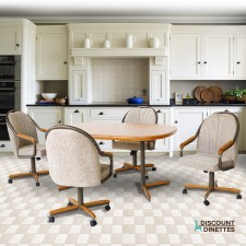 Douglas Casual Living Holly Metal and Wood Swivel Caster Dining Set