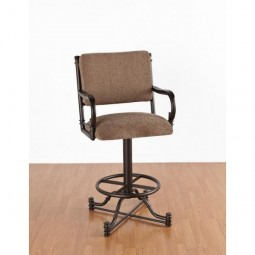 "Tempo Like Bullseye 34"" Swivel Wide Body Burnet Bar Stool with Arms by Callee"