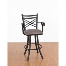 """Tempo Like 26"""" New Rochelle Swivel Rochester Bar Stool with Arms by Callee"""