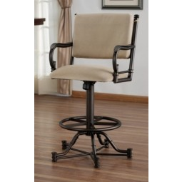 "Tempo Like Bullseye 26"" Swivel Tilt Wide Body Burnet Bar Stool with Arms by Callee"