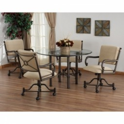 Tempo Like Bullseye Swivel Tilt Caster Burnet Dinette Set by Callee Furniture